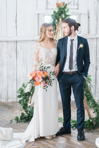 Comfortable Column Lace-Jersey Wedding Dress With A Sweep Train