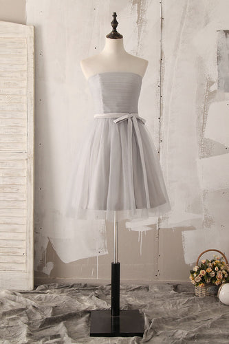 Bow-knot Strapless Sleeveless Zipper-Up Short Solid Ruched Tulle Bridesmaid Dress