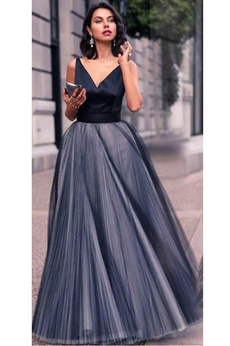 Dainty Navy-Gray A-Line V-Neck Sleeveless Layered Floor-Length Dress