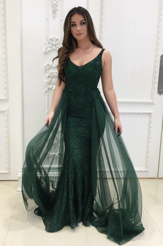 Dark Green Shimmering Lace Tulle Long Dress With A Fresh Design