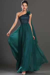 Dark Green Single-Shoulder Beaded Empire Chiffon Dress With Back Shoulder Streamer