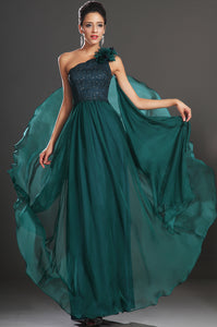 Dark Green Single-Shoulder Beaded Floor-Length Chiffon Dress With Back Streamer