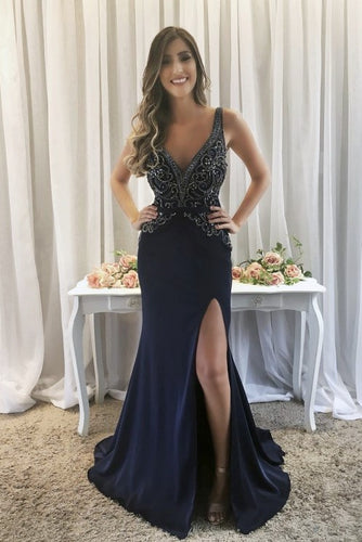 Dark Navy Beading Rhinestone Plunging Neck Sleeveless Long Fit-And-Flare Prom Dress