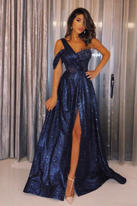 Glittering Dark Navy Sequin One Shoulder Floor-Length Prom Dress with High Slit