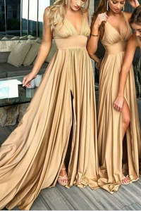 Deep V-Neck Empire Waist Sweep Train Sexy Bridesmaid Dress With Slit