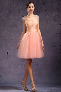 Delightful Cap-Sleeved Beaded Ruched Surplice Tulle Dress