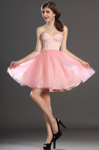 Delightful Pink Sweetheart Fit-N-Flare Tulle Short Dress