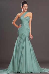 Delightful Single-Shoulder Sweetheart A-Line Long Dress With 3-D Floral Appliques