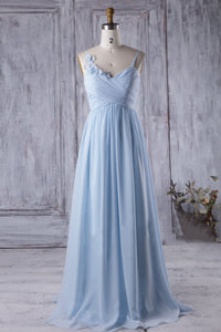 Dreamy Blue Strapped Rosettes Empire A-Line Bridesmaid Dress