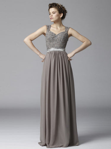 Dusty Gray Strapped Column Long Dress With A Long Lean Look