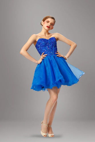 Dynamic Blue Sweetheart Beaded Fit-And-Flare Short Tulle Dress