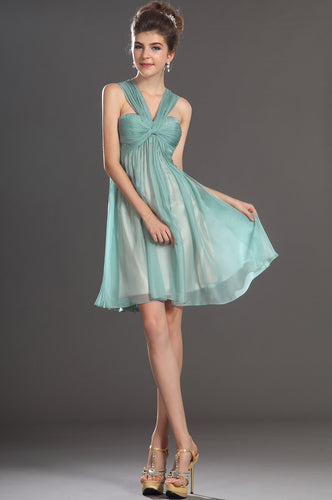 Dynamic Chiffon Halter Empire Sheer-Illusion Knee-Length Dress