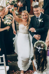 Easy-Moving Beaded-Topped Silk Wedding Dress