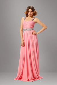 Easy-Moving Pink Empire Ruched Beaded Long Dress With Bold Straps