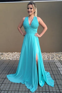 Elegant Beaded V-Neck Sleeveless Lace-Up Long Solid Slit Prom Dress with Sweep Train