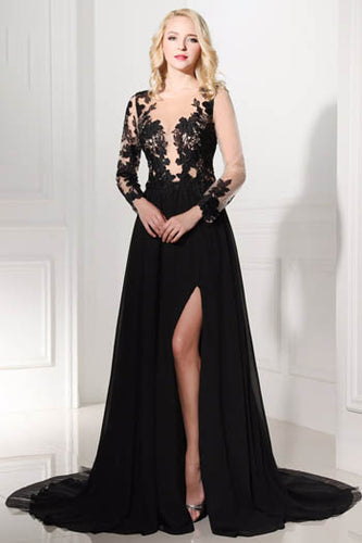 Elegant Black Appliqued Long Sleeve Sheer Illusion Neckline Prom Dress With Side Slit