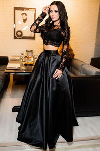 Elegant Black Long Sleeves Bateau Neck Two-piece Evening Dress With A-line Skirt