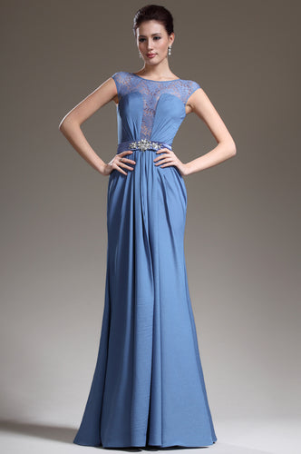 Elegant Blue Floor-Length Chiffon Dress With Beautiful Details