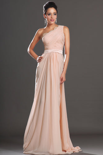 Elegant Champagne One-Shoulder Chiffon Floor-Length Dress With A Satin Belt