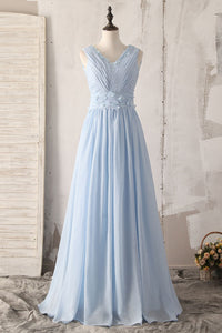 Elegant Floral V-Neck Sleeveless Backless Long Solid Ruched Chiffon Bridesmaid Dress