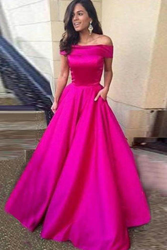 Elegant Fuchsia Strapless Folded Off-The-Shoulder Floor Length Evening Prom Dress