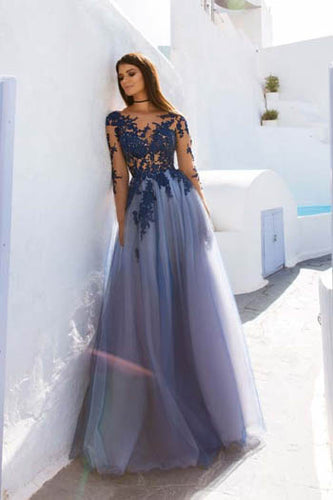 Elegant Lavender Appliqued Long Sleeve Bateau Neckline Backless Tulle Layered Prom Dress