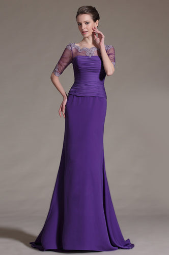 Elegant Purple A-Line Sheer-Illusion Ruched With Beads Embellishment
