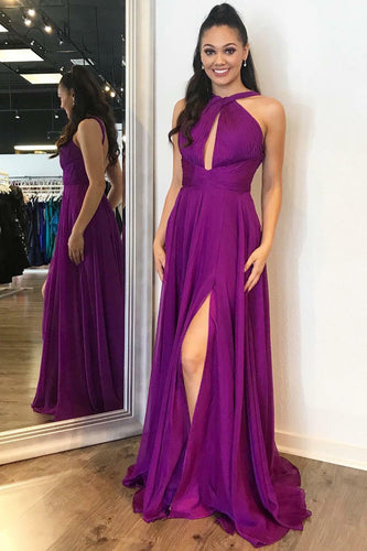 Elegant Purple Criss-Cross Floor-Length Long Dress With A Sexy Side Slit