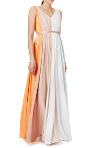 Elegant Ruffled Sleeveless Deep V Neckline A-Line Floor Length Bridesmaid Dress