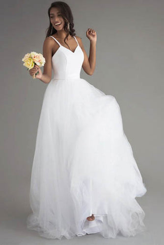 Elegant White Spaghetti Straps Deep V Neckline Open Back Layered Prom Dress