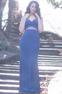Empire Blue Sweetheart Column Long Dress With Sheer-Illusion Design At The Waist