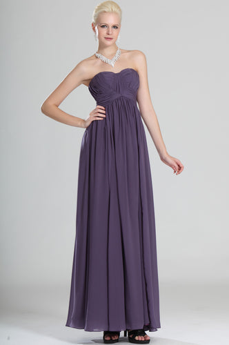 Empire Strapless Ruched A-Line Purple Chiffon Long Dress