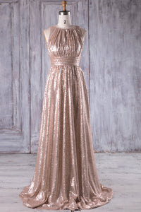Empire Waist Jewel Neck Sequin A-Line Bridesmaid Dress With Sweep Train