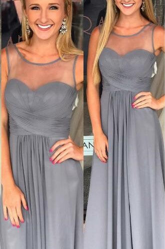 Empire Waist Sheer Neck Floor-Length Chiffon Gradation Color Formal Dress