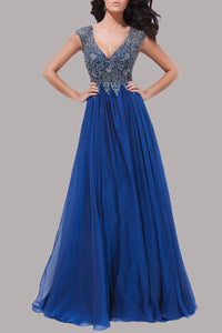 Enchanting A-Line Two-Color Beaded Strapped Empire Long Dress With Key-Hole Back