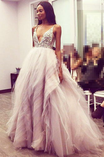 Enchanting V-Neck Open-Back Flaring Tulle Wedding Dress With Rhinestones