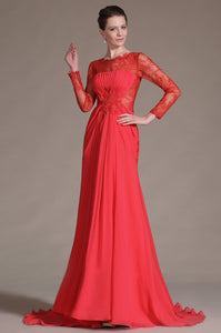 Eye-Catching Sheer-Illusion Long-Sleeved A-Line Chiffon Long Dress