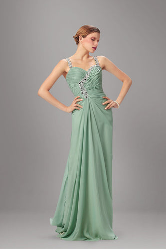 Fancy Light Green Beaded Surplice Chiffon Long Dress With Beaded Straps