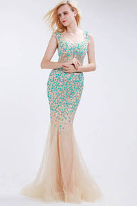 Figure-Flattering Beaded Sheer Illusion Neck Sheer Back Trumpet Prom Dress