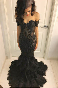 Figure-Flattering Off-The-Shoulder Black Long Dress With An Unique Feather Bottom