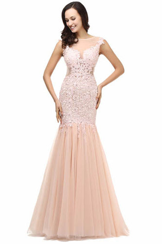 Figure-Flattering Pink Appliqued Sheer Illusion Neckline Trumpet Evening Prom Dress