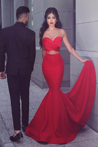 Figure-flattering Red Strapless V Neckline Mermaid Evening Dress with Front Cutouts