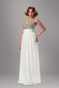 Floor-Length Long Dress With A Beaded Silver Top And A White Chiffon Skirt