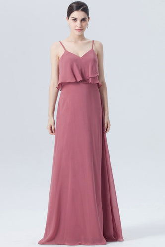 Flounces Strapped Empire A-Line Bridesmaid Dress In Burgundy