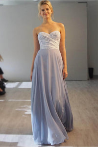 Flowing Dusty Blue Strapless Sweetheart A-Line Chiffon Long Dress