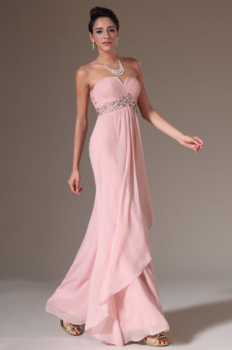 Flowing Pink Party Wedding Guest Chiffon Dress With A Graceful Silhouette