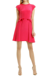 Fuchsia Cap Sleeve Jewel Neckline Open Back Short Length Bridesmaid Dress