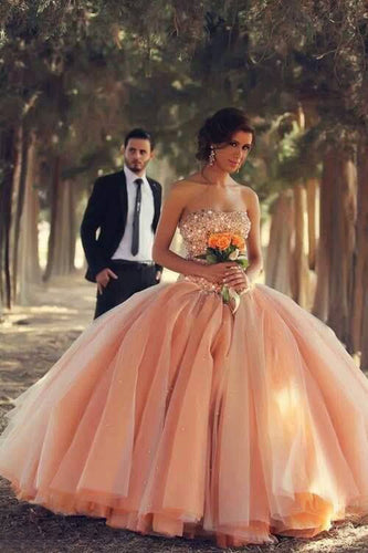 Glamorous Wedding Ball Gown With Beaded Bodice And A Flaring Skirt