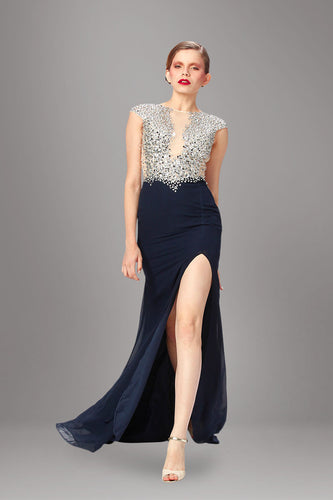 Glittering Cap-Sleeved Two-Color Beaded Empire Long Dress With A Chiffon Skirt