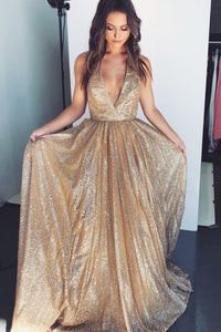 Glittering Sequin Deep V-Neck Sleeveless Long Solid Sheath Prom Dress with Sweep Train